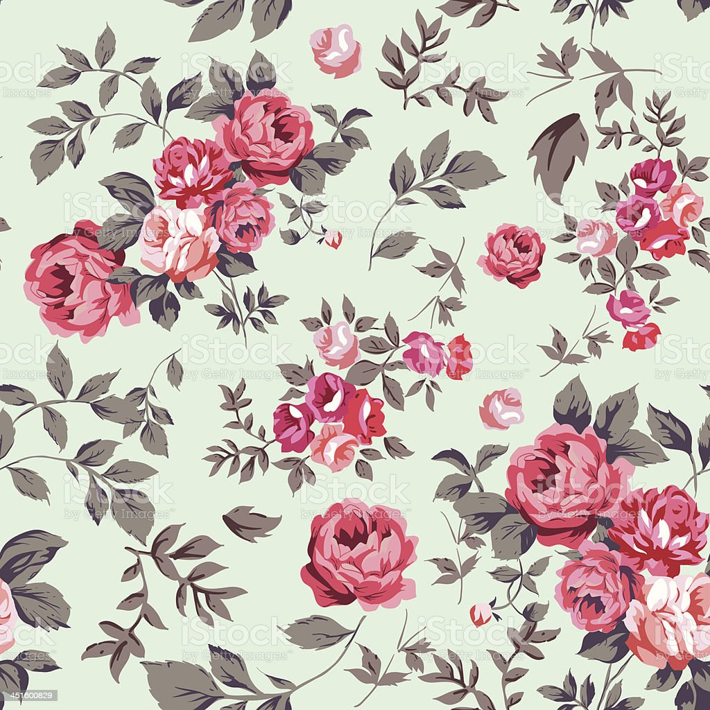Roses and leaves background pattern vector art illustration