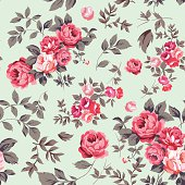 Roses and leaves background pattern