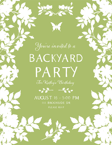 Roses Backyard Party Invitation Template