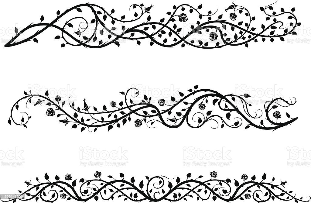roses borders vector art illustration