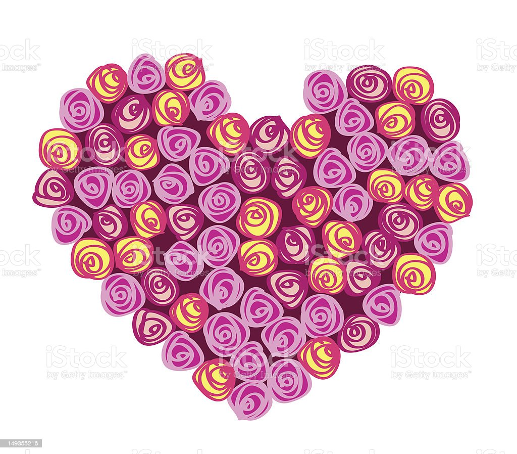 roses bouquet in the form of heart royalty-free stock vector art