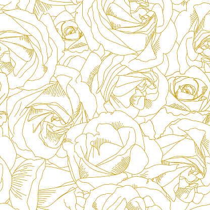 Roses bud outlines. Seamless pattern with flowers in yellow and golden colors. Abstract art, hand-drawn romantic background. Vector illustration, eps10. Template for textile, wrap paper, covers