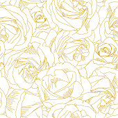 Roses bud outlines. Seamless pattern with flowers in yellow and golden colors. Abstract art, hand-drawn romantic background. Vector illustration, eps10. Template for textile, wrap paper, covers.