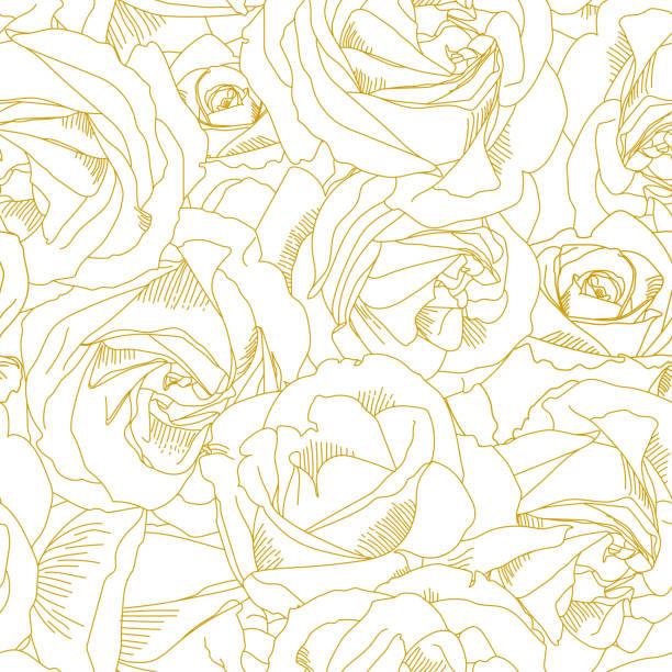 bildbanksillustrationer, clip art samt tecknat material och ikoner med rosor knopp konturer. seamless mönster med blommor i gult och gyllene färger. abstrakt konst, handritade romantisk bakgrund. vektorillustration, eps10. mall för textil, wrap papper, täcker - white roses