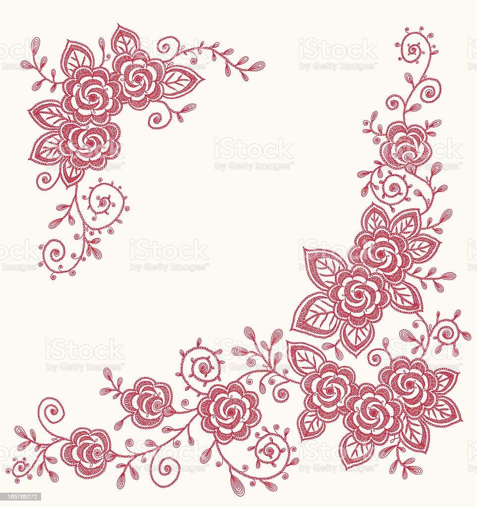 Roses Clip art Corners. vector art illustration