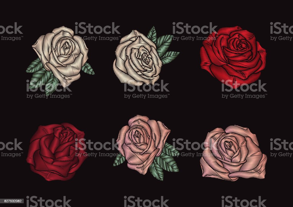 Roses embroidery on black background vector art illustration