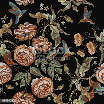 istock Roses embroidery seamless pattern. Classical embroidery vintage buds of roses and humming birds. Fashionable template for design of clothes, t-shirt design, tapestry flowers renaissance style 865302620