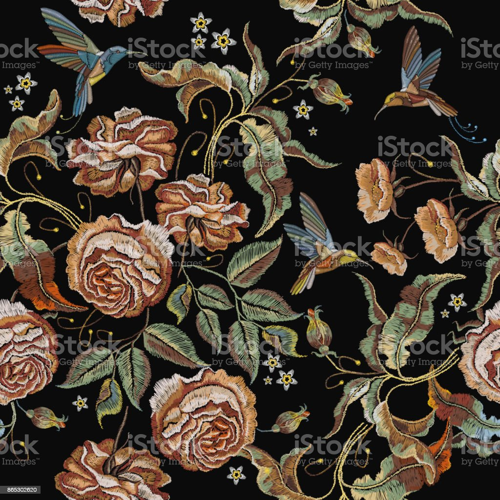 Roses embroidery seamless pattern. Classical embroidery vintage buds of roses and humming birds. Fashionable template for design of clothes, t-shirt design, tapestry flowers renaissance style vector art illustration