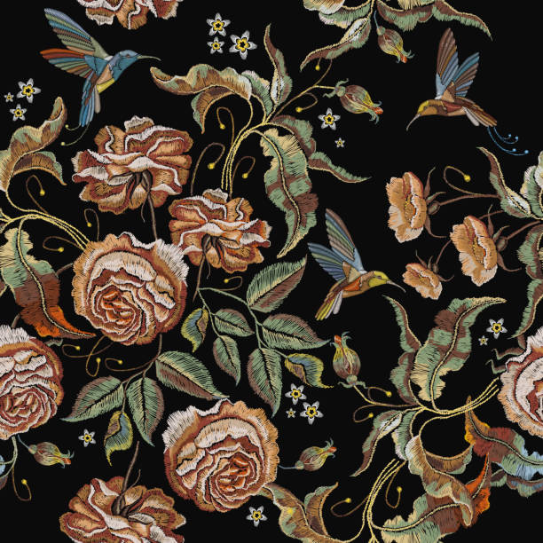 Roses embroidery seamless pattern. Classical embroidery vintage buds of roses and humming birds. Fashionable template for design of clothes, t-shirt design, tapestry flowers renaissance style Roses embroidery seamless pattern. Classical embroidery vintage buds of roses and humming birds. Fashionable template for design of clothes, t-shirt design, tapestry flowers renaissance style renaissance stock illustrations