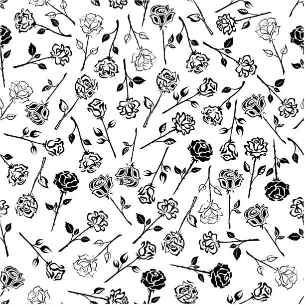 Royalty Free Rose Stem Tattoo Designs Background Clip Art Vector