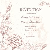 Roses Floral Wedding Invitation Background with flowers along the left side and along the bottom forming a partial framed border on a beige speckled background.  The flowers,leaves and stems are a sketchy style line art.  The wedding invite text is on the right of the poster.