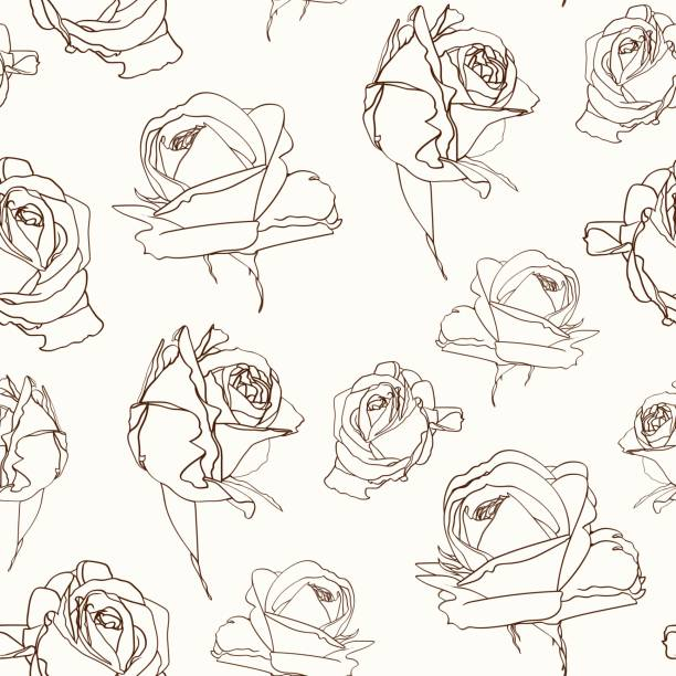 roses flowers seamless pattern texture. brown sepia outline on beige background. blooming spring summer line flowers illustration. vector design illustration for fashion, decoration, fabric, textile. - spring fashion stock illustrations, clip art, cartoons, & icons