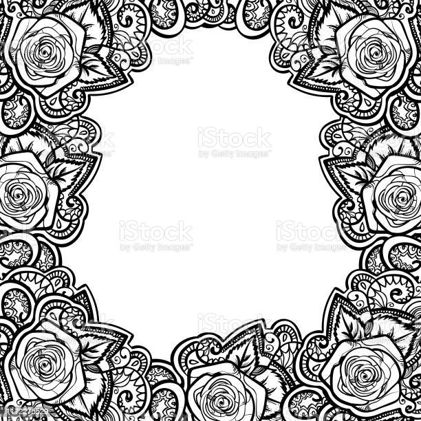 Roses frame round border with leaves and mehndi black and white vector id1172275529?b=1&k=6&m=1172275529&s=612x612&h=fytwv2xh 9lcv1h0 exmpowp9zzcgdux z3g9a08f74=