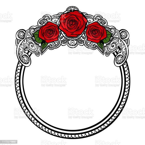 Roses frame round border with leaves and mehndi black and white vector id1172275897?b=1&k=6&m=1172275897&s=612x612&h=fbsgif94q52yc5ub t9om2yvaa uenm05q b0feokfs=