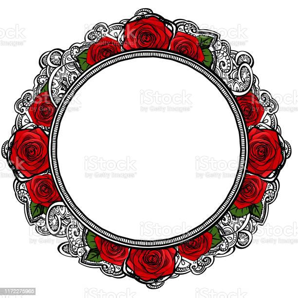 Roses frame round border with leaves and mehndi black and white vector id1172275965?b=1&k=6&m=1172275965&s=612x612&h=19xorz5oe0f1ee4axkglig22uhuqmgotbb00zkx3ase=
