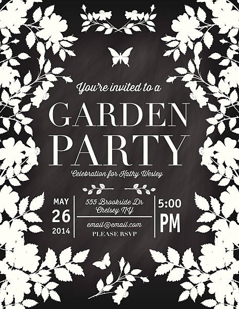 Roses Garden Party Chalkboard Invitation Template vector art illustration