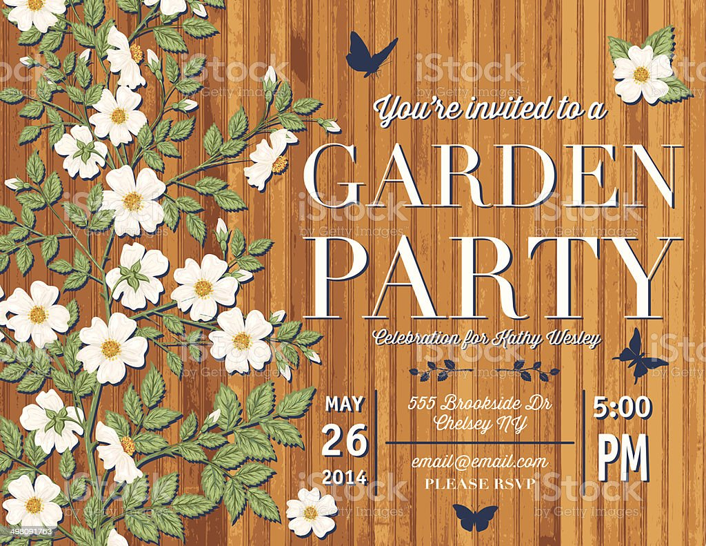 Roses Garden Party Invitation Template Stock Vector Art & More ...