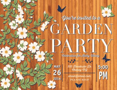 Garden Party Zaproszenie Szablon Róże Stockowe Grafiki