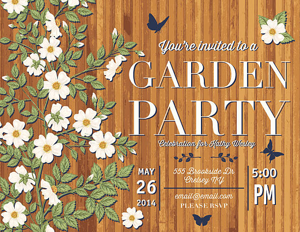 バラのガーデンパーティの招待状テンプレート - ガーデンパーティ点のイラスト素材/クリップアート素材/マンガ素材/アイコン素材