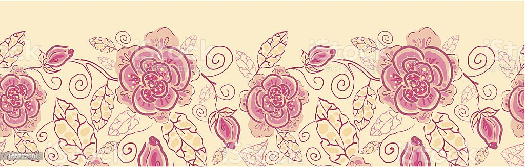Roses Horizontal Floral Seamless Pattern Ornament royalty-free stock vector art