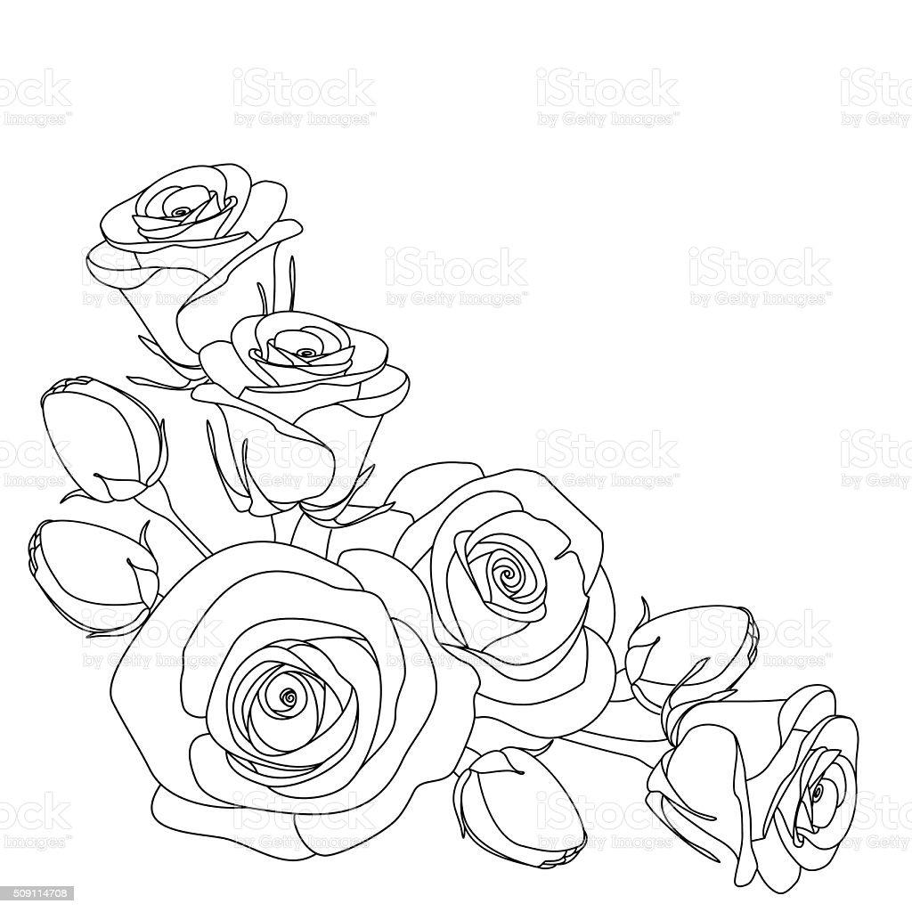 バラ白黒イラストカラーリングページ お絵かきのベクターアート素材や