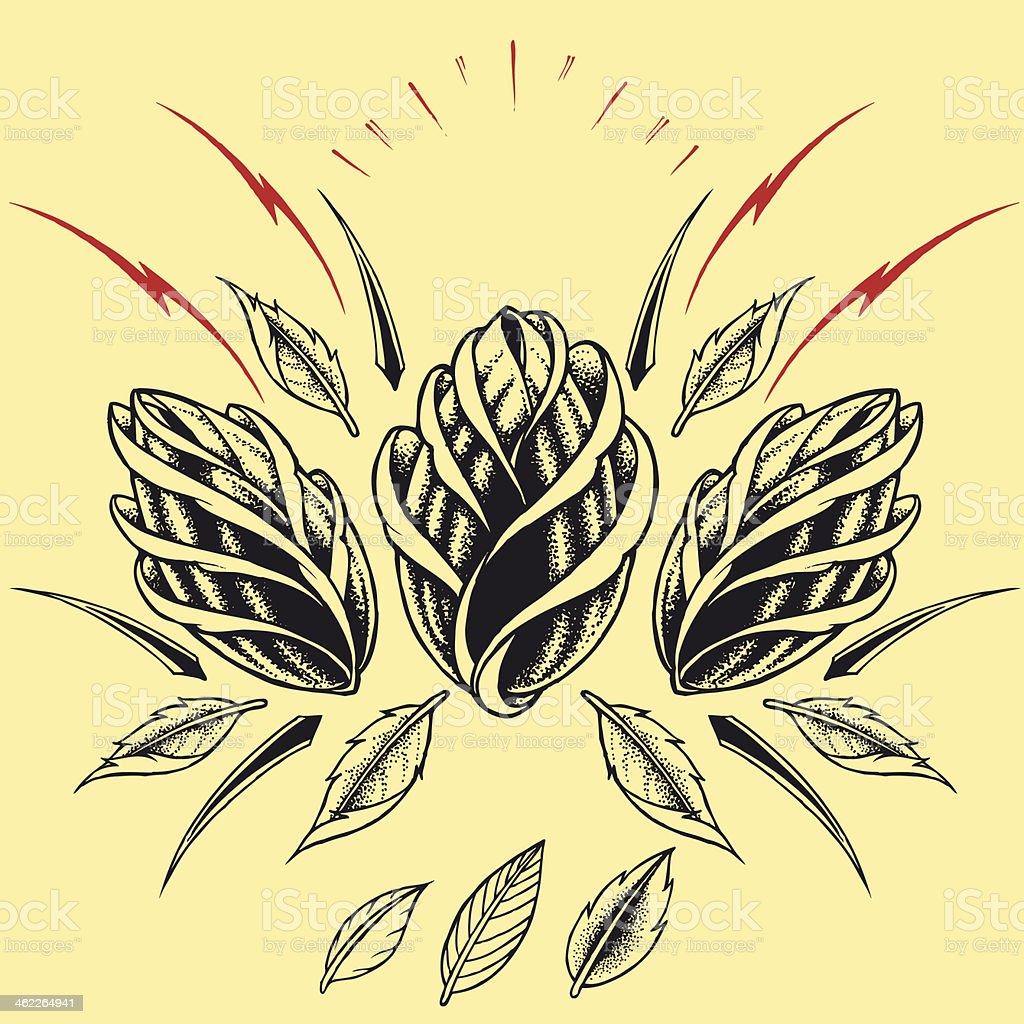 Roses Oldskool Tattoo style element royalty-free stock vector art
