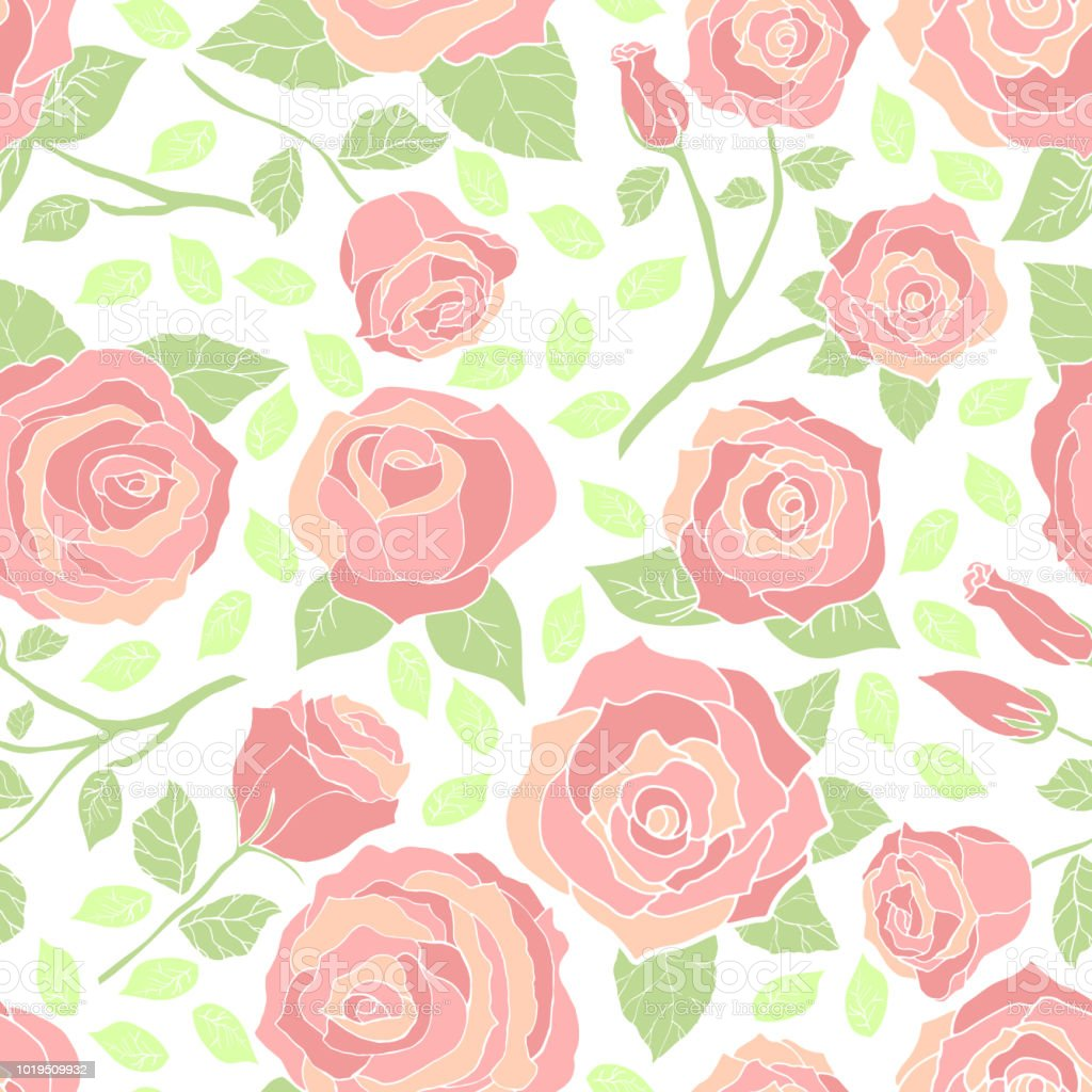 Roses Pattern Pastel Floral Pattern Pastel Roses Seamless Vector