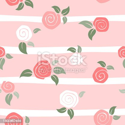Roses seamless on pink striped background