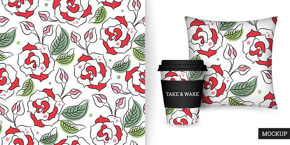 Roses seamless pattern in hand drawn style. Beautiful floral background. Modern ornament with blooming flowers.