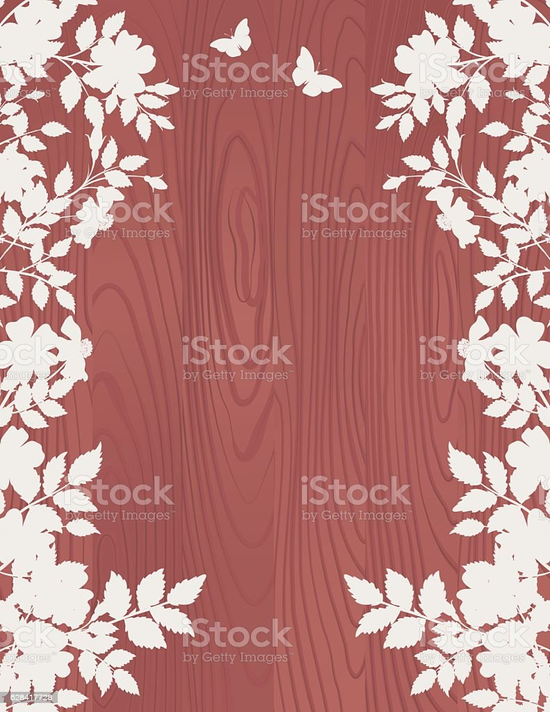 Roses Silhouettes On A Wood Background – Vektorgrafik