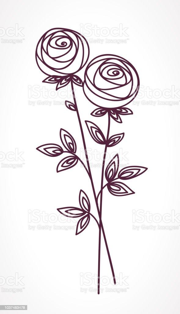 Vetores De Rosas Mao De Buque De Flores Estilizadas De Desenho