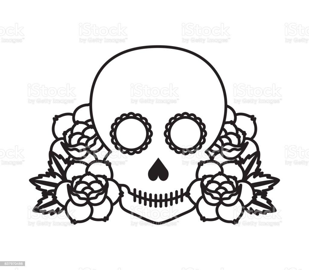 roses tattoo design vector art illustration