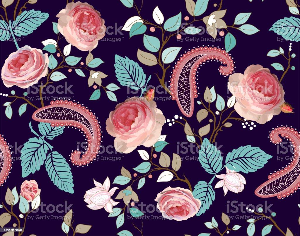 Rozen vector patroon. Kleurrijke naadloze bloemen wallpaper, achtergrond - Royalty-free Horizontaal vectorkunst
