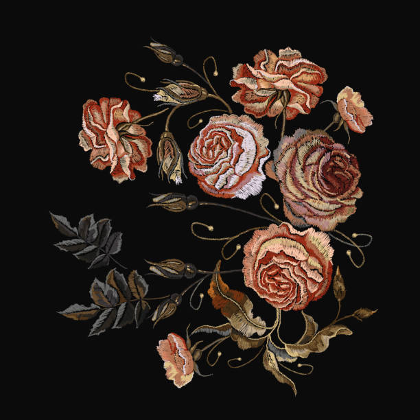 Roses vintage embroidery. Classical embroidery vintage buds of roses on black background. Design of clothes, t-shirt design, tapestry flowers renaissance style vector Roses vintage embroidery. Classical embroidery vintage buds of roses on black background. Design of clothes, t-shirt design, tapestry flowers renaissance style vector tapestry stock illustrations