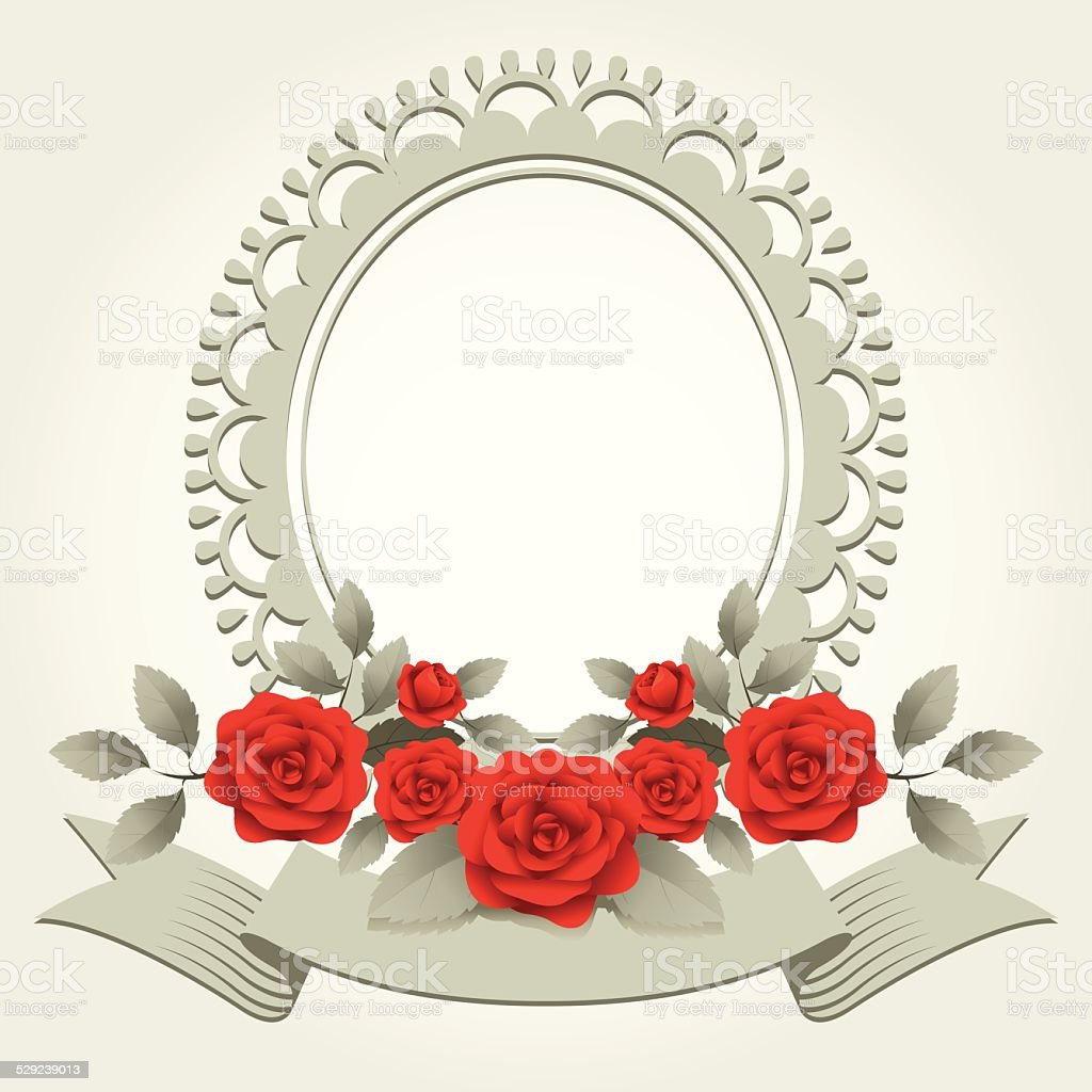 Roses Vintage Roundshaped Frame Border Stock Vector Art & More ...