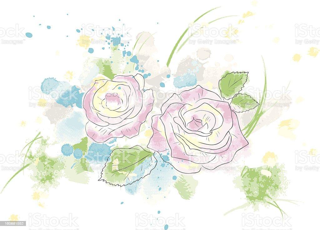 Roses watercolor painting royalty-free stock vector art