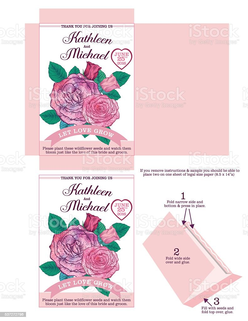 Roses Wedding Seed Packet Template vector art illustration