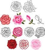 Roses with leaves set