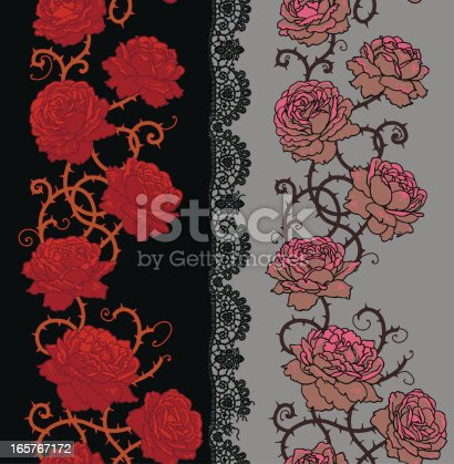 Roses with stems and thorns Vertical seamless pattern.