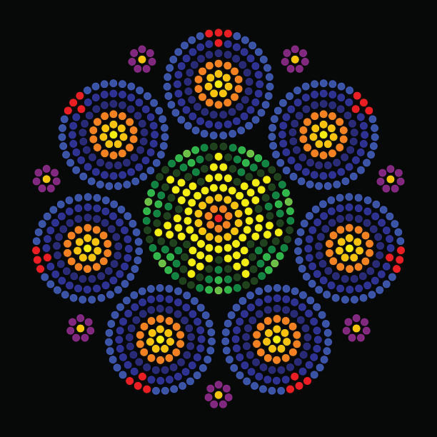 bildbanksillustrationer, clip art samt tecknat material och ikoner med rosette window leadlight radial dot patterns - wheel black background