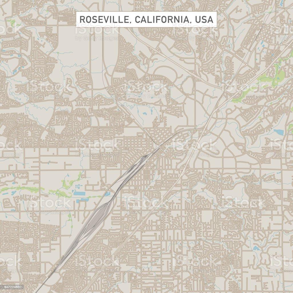 Roseville California Map Roseville California Us City Street Map Stock Vector Art & More  Roseville California Map