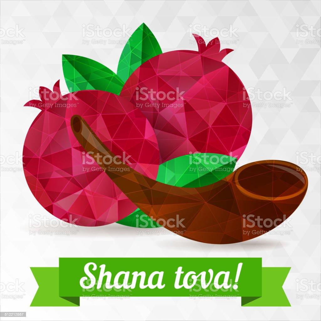 Rosh hashana card vector art illustration