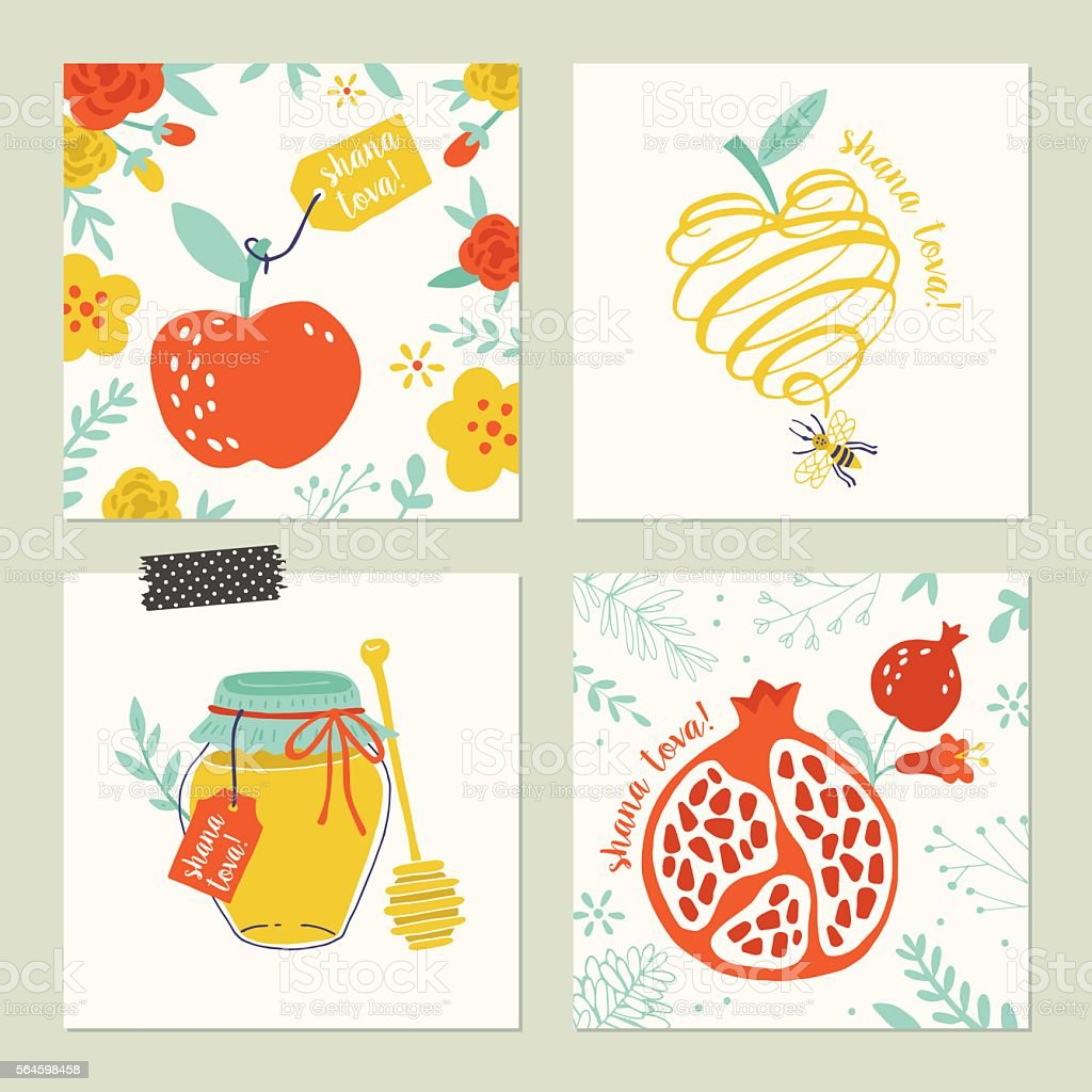 Rosh Hashana (jewish new year) greeting card set with han vector art illustration