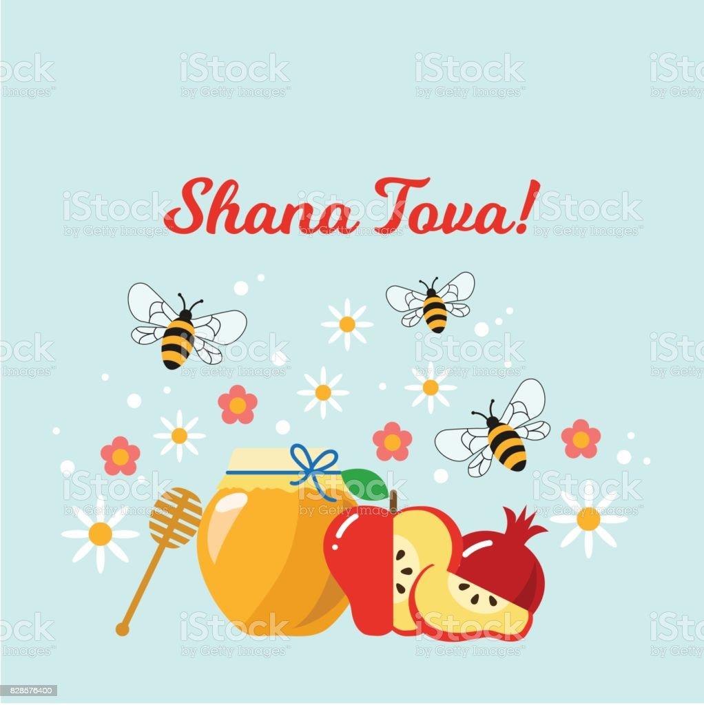Carte De Voeux De Rosh Hashana Vecteurs Libres De Droits Et Plus D Images Vectorielles De Abeille Istock