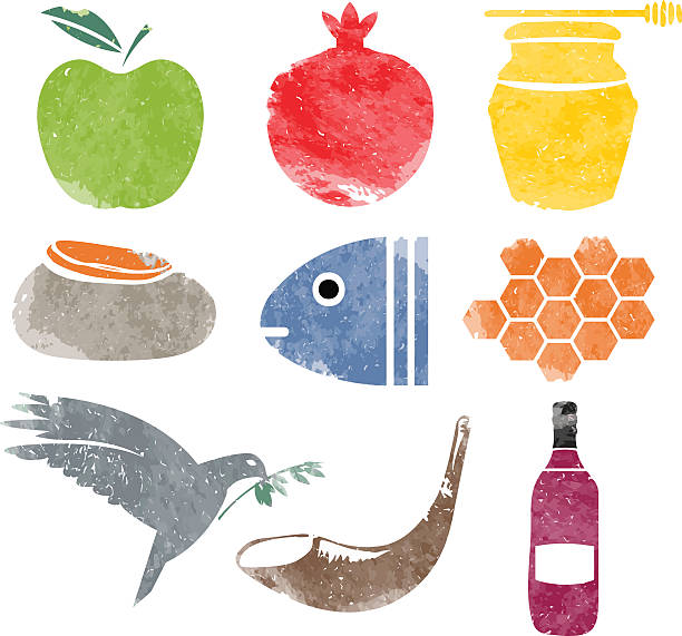 rosh hashana icons set for shana tova - rosh hashana stock illustrations