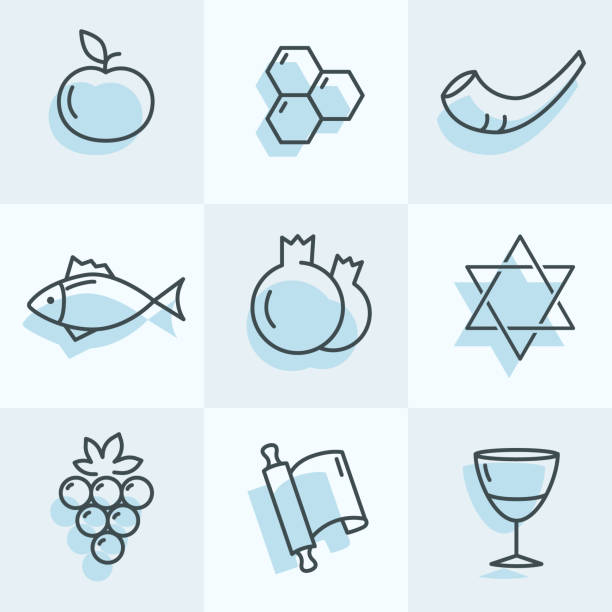 로 시 하 사 나 아이콘 - rosh hashanah stock illustrations