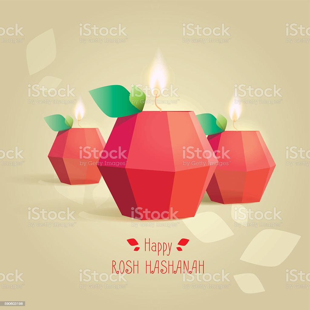 Rosh Hashana jewish new year greeting card template vector art illustration