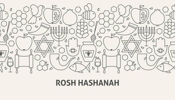 rosh 新年橫幅概念 - rosh hashana 幅插畫檔、美工圖案、卡通及圖標