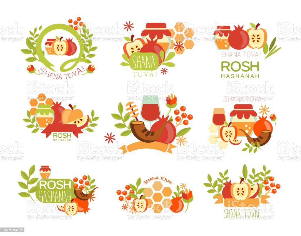 Rosh Hashanah Bright Postcard Labels Set royalty-free rosh hashanah bright postcard labels set stock vector art & more images of antioxidant