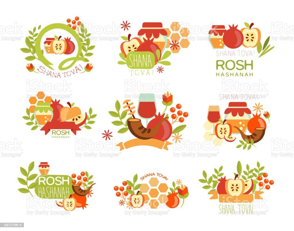 Rosh Hashanah Bright Postcard Labels Set vector art illustration